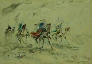 Illegibly Signed Oil on Canvas Men on Camels.