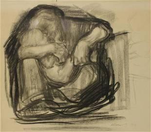 Kathe Kollwitz Signed Mother and Child Print.