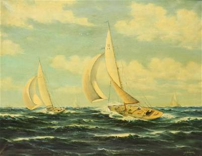 F Schneider Signed Oil on Canvas Racing Yachts.