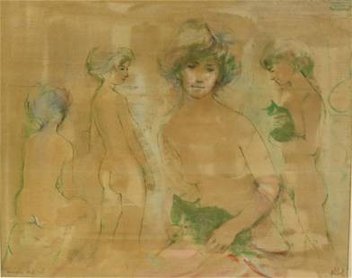 Edna Hibel Signed Conte Crayon and Oil on Silk
