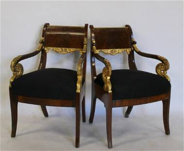 An Antique Pair Of Russian Carved & Parcel Gilt