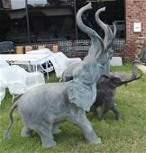 3 Large Patinated Metal Elephant Sculptures