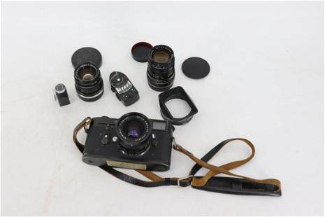 Vintage Black Leica M4 Camera With Lenses & Misc