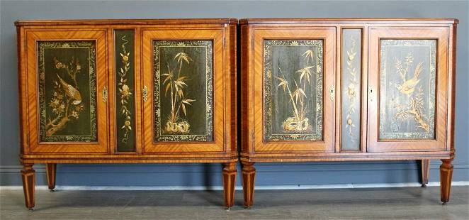 A Fine Pair Of Satinwood Banded Cabinets With