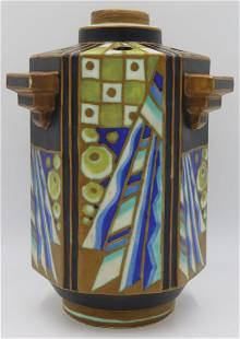 Charles Catteau Keramis Glaze Geometric Vase.