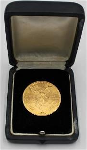 BULLION. 1945 50 Pesos Mexican Gold Coin.