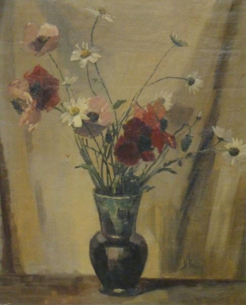 505: UNKNOWN. c.1940 Signed O/C Flowers in a Vase.