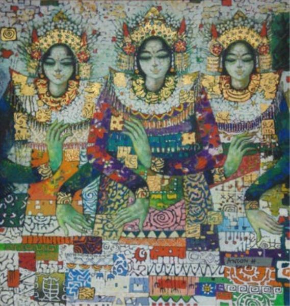 507: HUANG, Anton. 1983 O/C Three Balinese Dancers.