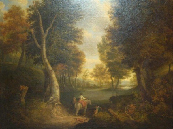 517: School of Richard Wilson. O/C Figures in Landscape