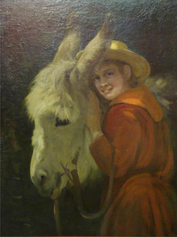 520: WALLS, William. O/C of Boy & Donkey.
