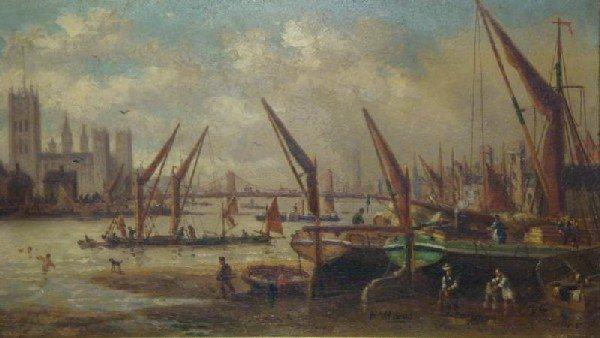 521: MAES, Hendrik. 19th C. O/B London and the Thames