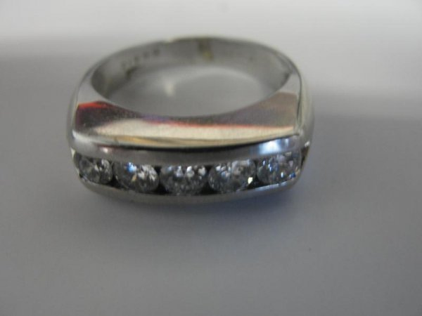 13: 14K White Gold Ring with 5 Small Diamonds.