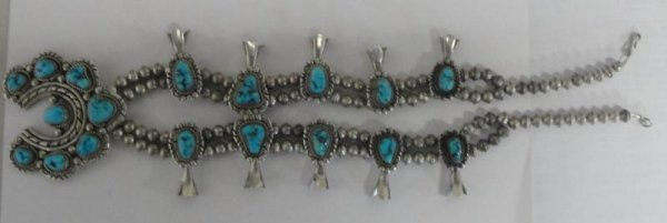 15: Squash Blossom Indian Silver & Turquoise Necklace.