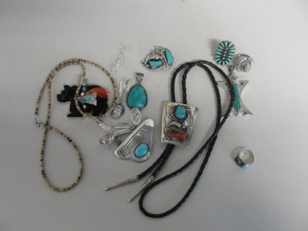 16: Lot of Silver & Turquoise Indian Jewelry.