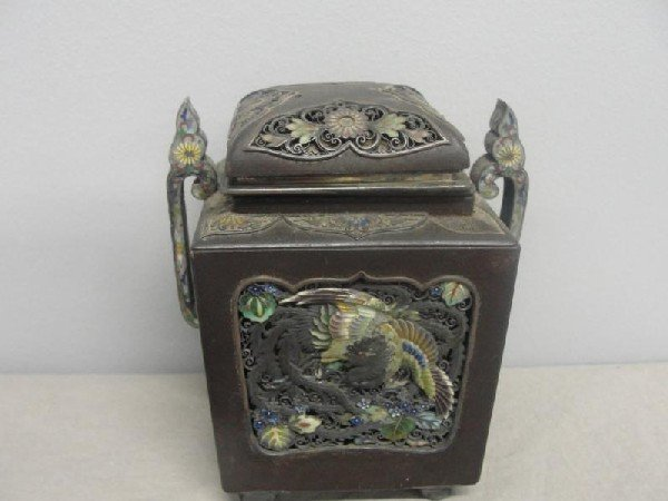 19: Asian Bronze & Enameled Lidded Container.