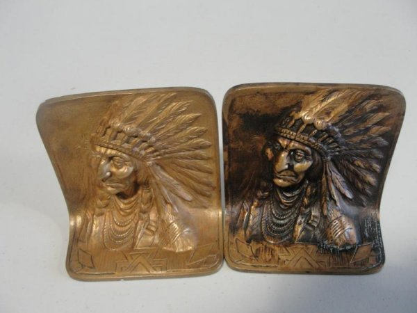 22: Pair of Bronze Bookends with Indian Head Relief.