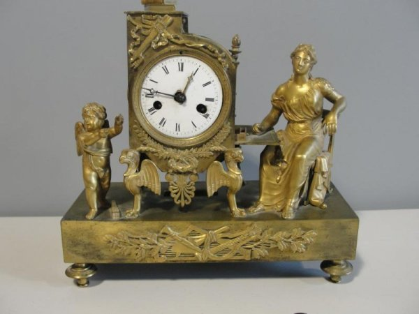 23: 19th Cent French Dore Bronze Clock.