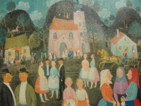 76: PEKARY, Istvan. 1967 Oil on Canvas of a Village.