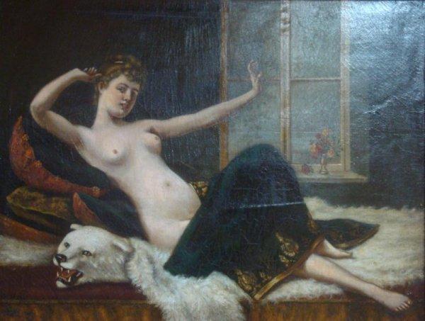 69A: Oil on Canvas of Nude on Polar Bear Rug.
