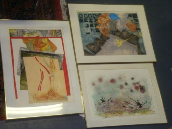71A: 3 Pcs Art - 2 Signed Color Prints c.1970 From Soho