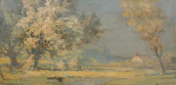 64: COUEILLERIE, H De La. 1930 O/B of Spring Landscape