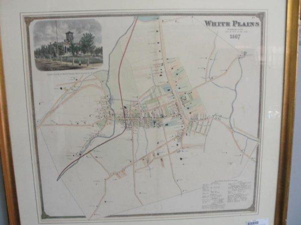 66: 19th Cent Framed Map of White Plains, NY.