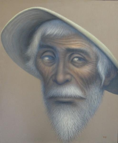 5: Wolff Theodore F. Oil on Canvas of Man in Hat.