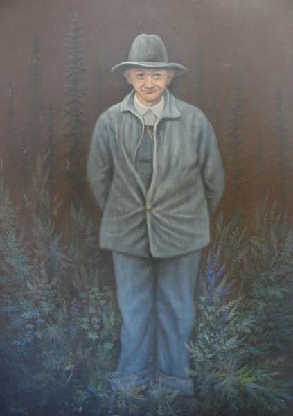 7: Wolff, Theodore F. Oil on Canvas of a Man & Trees.