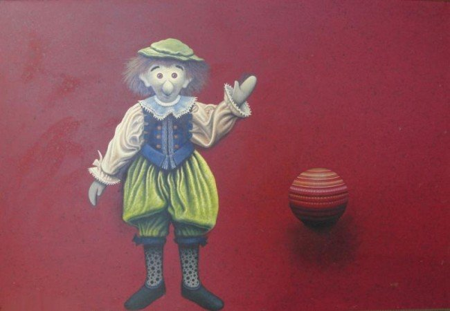 8: Wolff, Theodore F. Oil on Canvas of Doll and Ball.