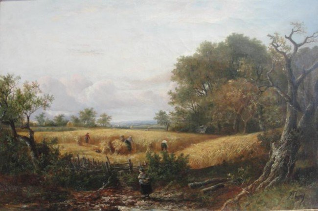 11: THORS, Joseph. 19th C. O/C of Harvest Scene.