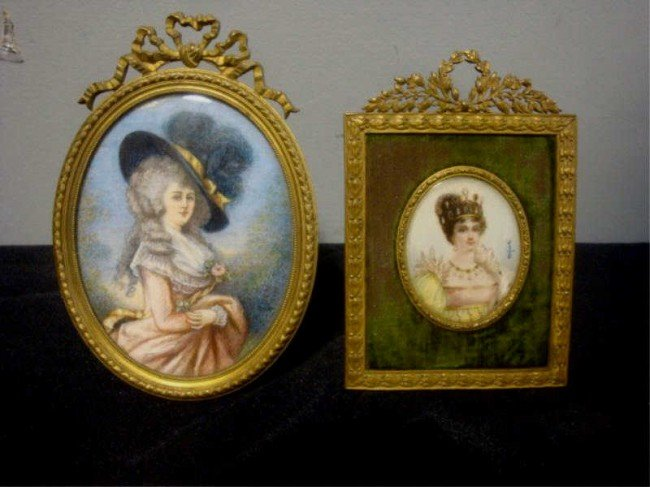 16: Two Signed Miniatures of Queens?