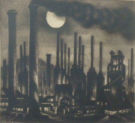 "22: STERNBURG, Harry. 1937 Etching, Aquatint ""Steel"
