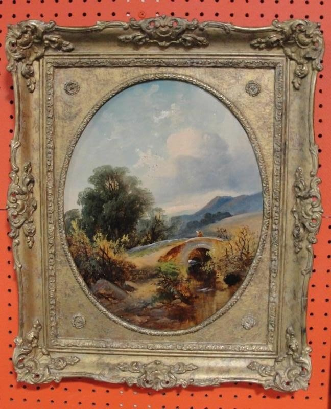 23: HORLOR. 19th C Oil on Board Landscape with Figures.