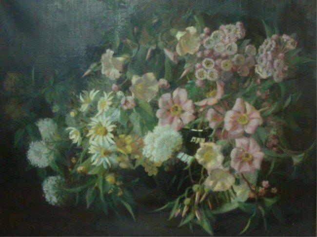 50: DILLON. Oil on Canvas Floral Still Life.