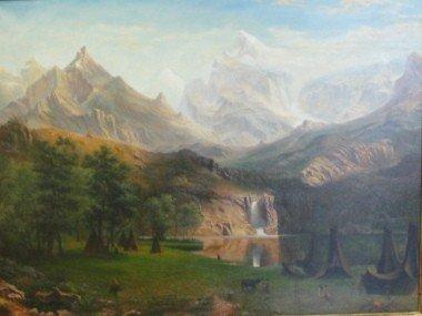 5: Oil on Canvas. Copy of Bierstadt's Famous Oil.