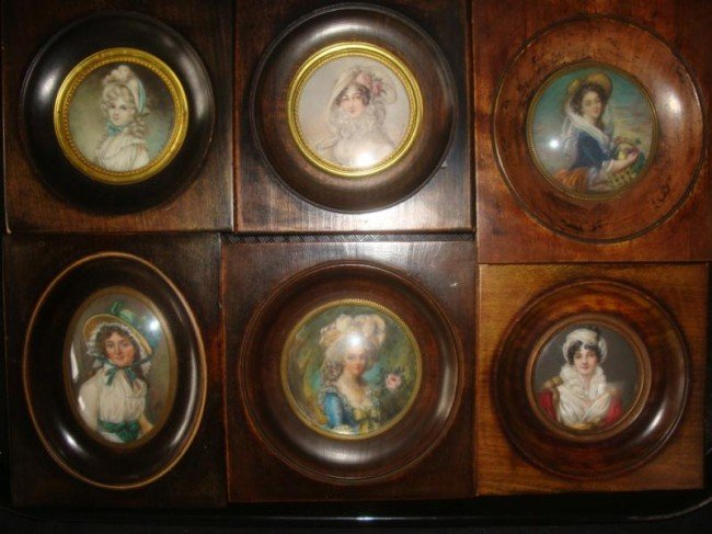 6: 6 Signed Miniatures of Beauties Wearing Hats