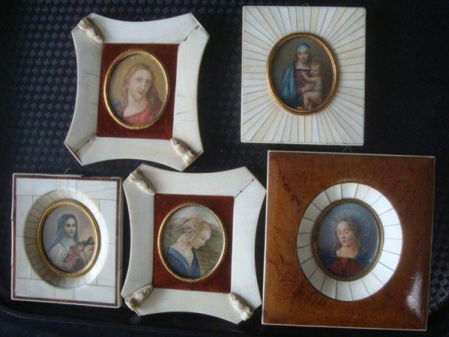 8: 5 Signed Religious Miniatures - Madonna and Child;
