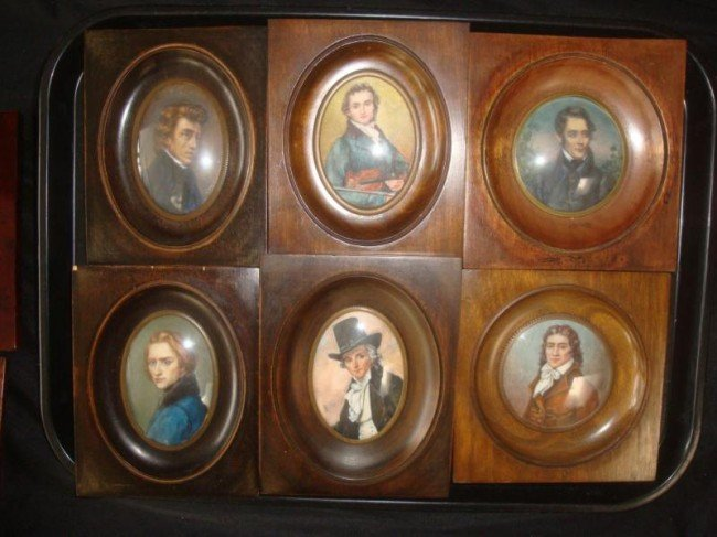 10: 6 Signed Miniatures of Men - Violinist, Chopin?,