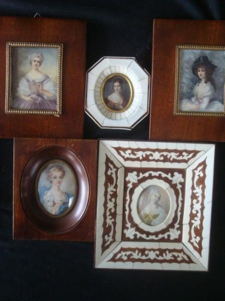 12: 5 Signed Miniature Portraits of Beauties.