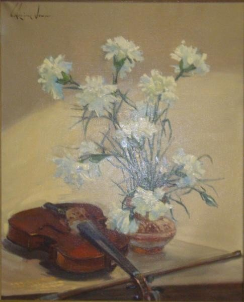 16: RODRIGUEZ-SAMPER, E.  O/C Still Life with Violin