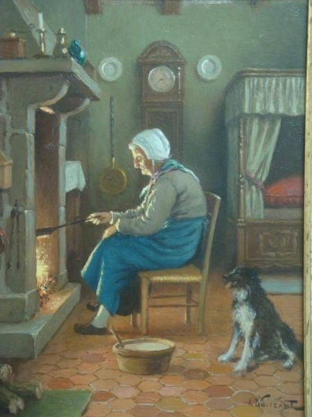 21: NOIREAUT, L. O/B of Old Woman and Dog at the Fire.