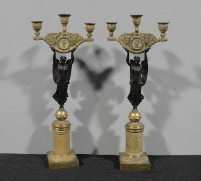 161: Pair of Bronze Figural Candelabra.