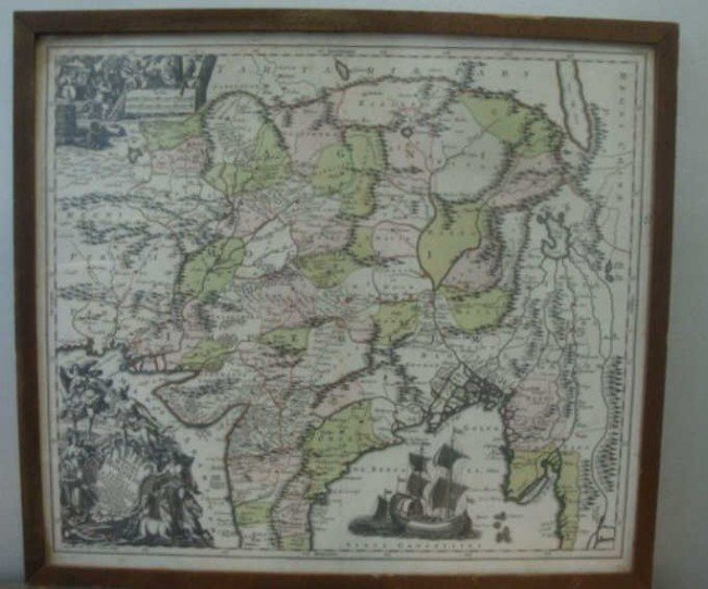 2: 18th C. Seutter Map of India including SE Asia.