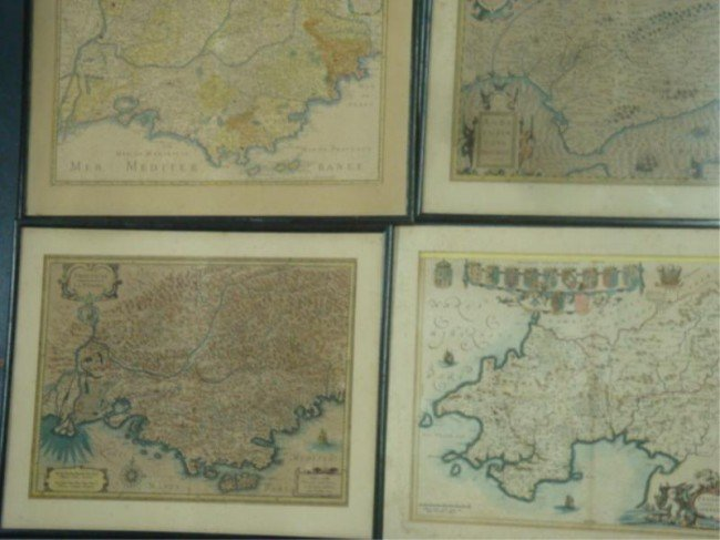 3: Four 17th C. Maps. Copper Engraved with Hand