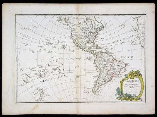 """8: Late 18th C. Map of """"Amerique."""""""