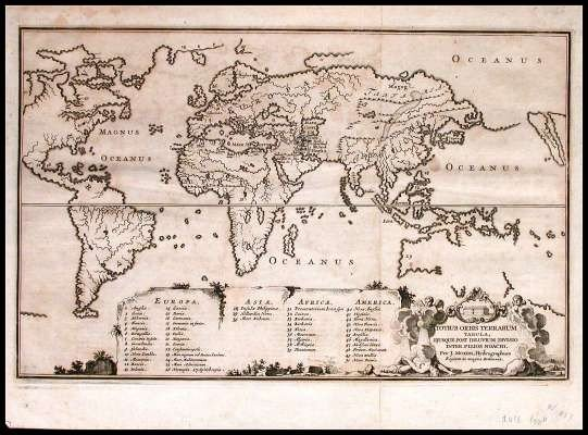 9: 1671 Map of the World.