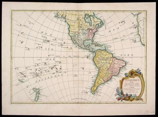 """10: 2nd Late 18th C. Map of """"Amerique."""""""