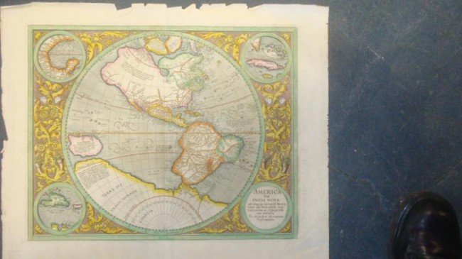 "11: c.1595 Mercator Map of ""America siue India Nova."""