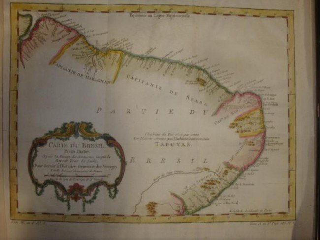 15: 1757 Hand Colored Engraved Map of Northern Brazil.