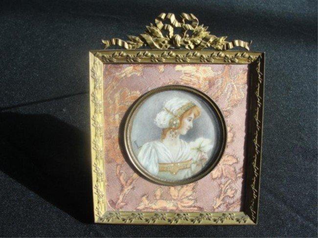21: Miniature Bronze Mounted Portrait.